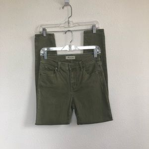 "Madewell green 9"" high riser skinny skinny jeans"